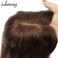 8 14 Mono and PU Base Human Hair Topper Toupee For Women 7*10 Brown Color Hair Piece Clip In Hair Extensions Remy hair 30g