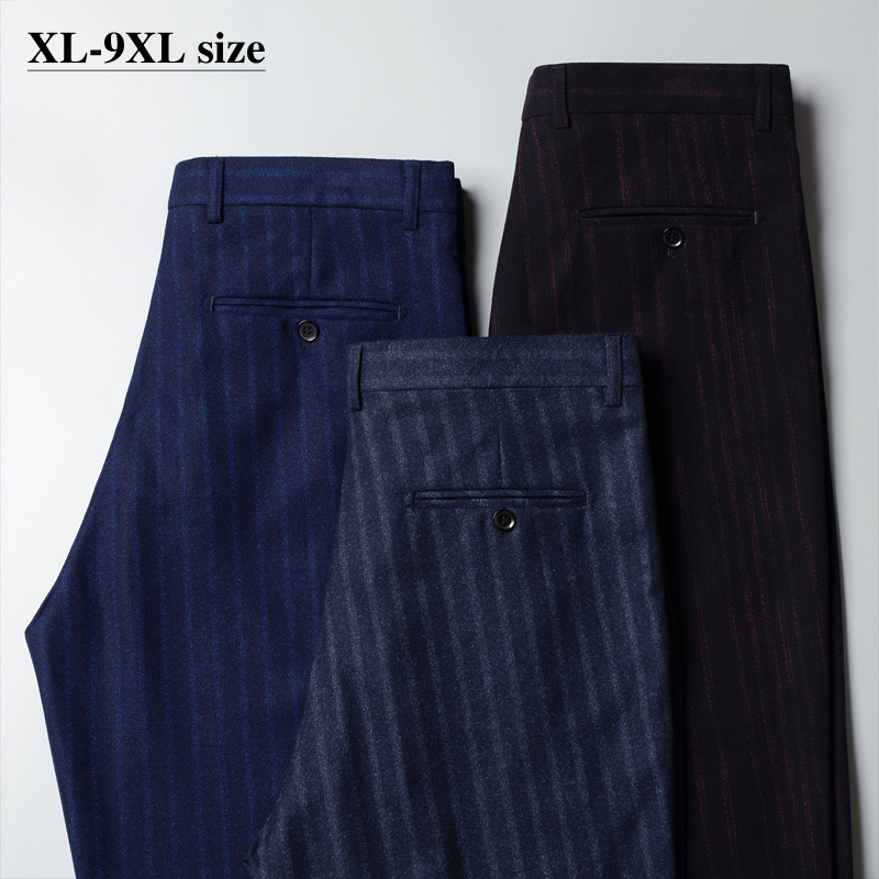Plus Size Men Suit Pants 7XL 8XL 9XL Quality Loose Straight Striped Casual Trousers Autumn Formal Business Classic Pants 46 48