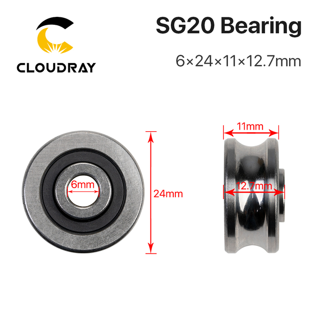 Cloudray 5 pcs Bearings SG10 SG15 SG20 SG25 Groove Ball Bearings for CO2 Laser Engraving Cutting Machine
