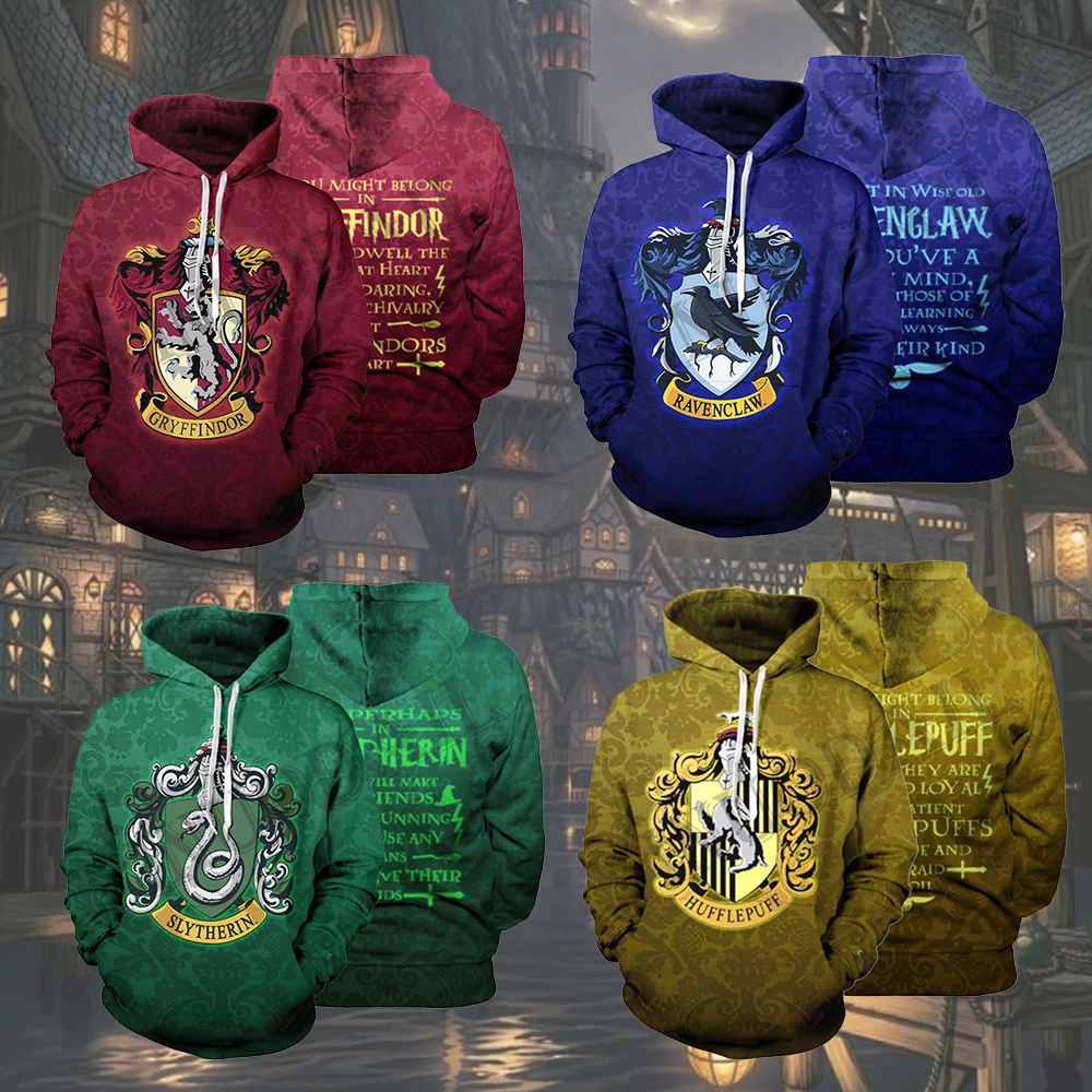 The Wizardry 3D Printed Hoodie With Pocket Ravenclaw Gryffindor For Adult Unisex Sweatshirt Costume Casual Hoodies Men Clothes