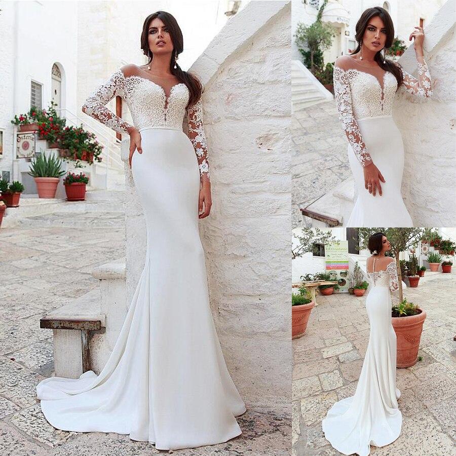 Wedding Dresses Illusion Scoop Sheath Appliques Satin Full Sleeves Zipper Up With Buttons Sash Court Train Vestido De Novia