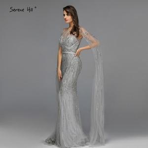 Image 5 - Grey Luxury Sleeveless Dubai Design Evening Dresses 2020 O Neck Crystal Beading Sexy Evening Gowns Serene Hill LA70160