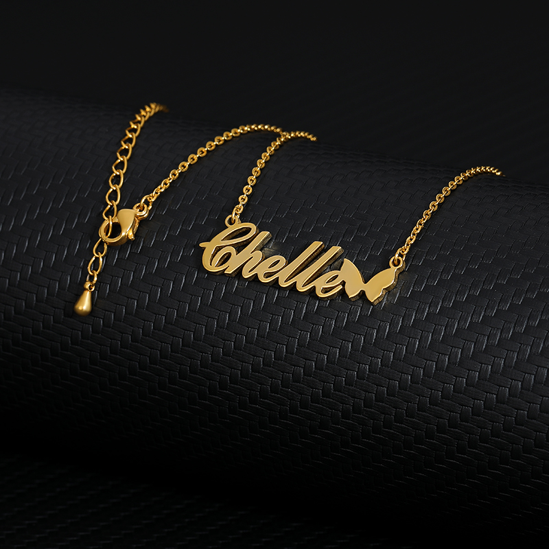 Nameplate Butterfly Choker Gold Pendent Custom Name Statement Necklace Women Ketting Collier Femme 2019  Personalized Jewelry