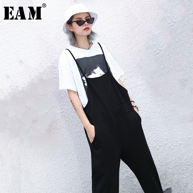 [EAM] High Waist Black Leisure Long Wide Leg Overalls Trousers New Loose Fit Pants Women Fashion Tide Spring Autumn 2020 1N809
