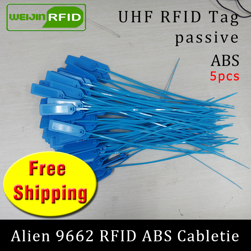UHF RFID ABS Cable Tie Alien 9662 EPC Gen2 6C 915m 868m 860-960MHZ Higgs3 5pcs Free Shipping Long Range Smart Passive RFID Tags