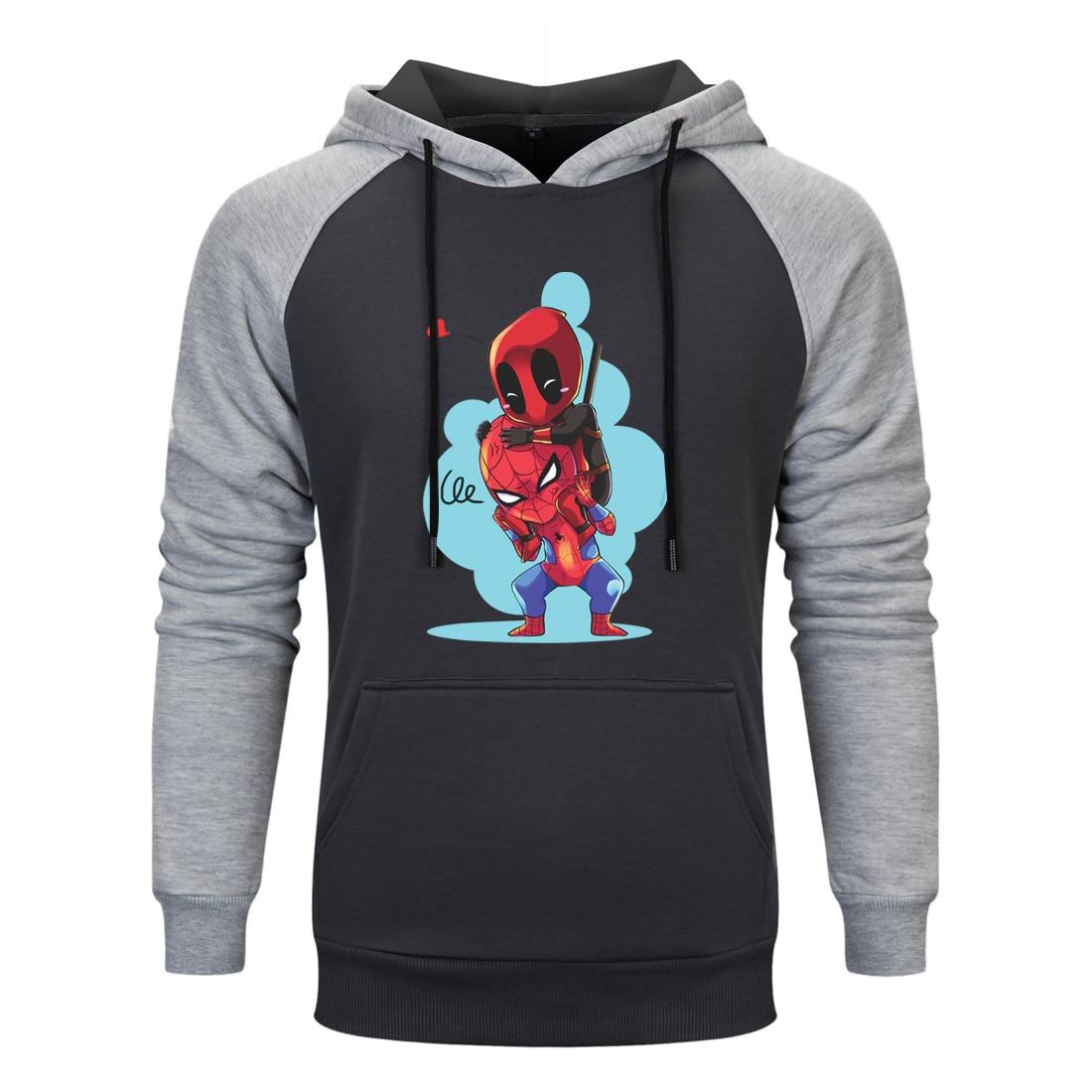 Spiderman Deadpool Cartoon Funny Hoodies Mens Casual Tracksuit Hooded Pullover 2020 Fashion High Quality Sportswear Raglan Hoody