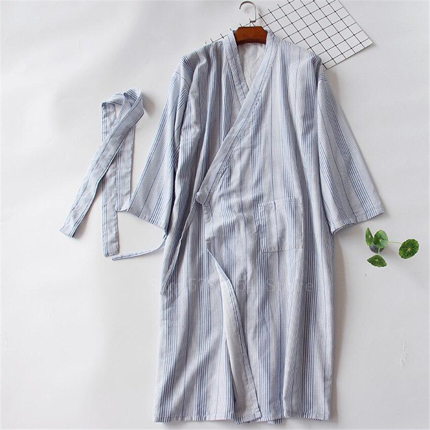 Couple Stripe Japanese Style Cotton Kimono Yukata Woman Haori Sleepwear Men Samurai Costume Long Gown Pajamas Japan Clothes