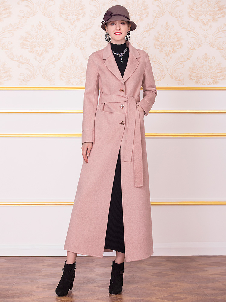 European Style Wool Coat Pink Fall Winter Turn Down Collar Long Sleeve Outwear with Belt Big Size DZ2177 - 6
