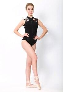Image 2 - בלט בגדי גוף ריקוד נשים 2020 סגנון חדש הדפסת רוכסן התעמלות ריקוד תלבושות למבוגרים גבוהה צווארון בלט בגד גוף