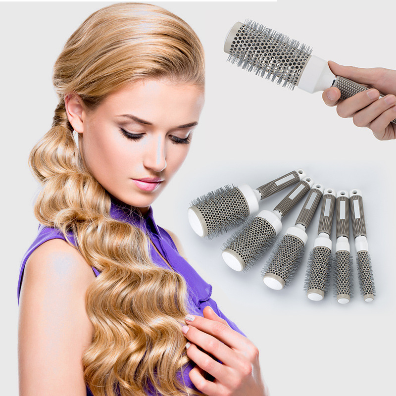 High Temperature Resistant Ceramic Iron Round Comb Professional Hair Dressing Brushes  5 Size Hair Styling Tool Hairbrush Choose