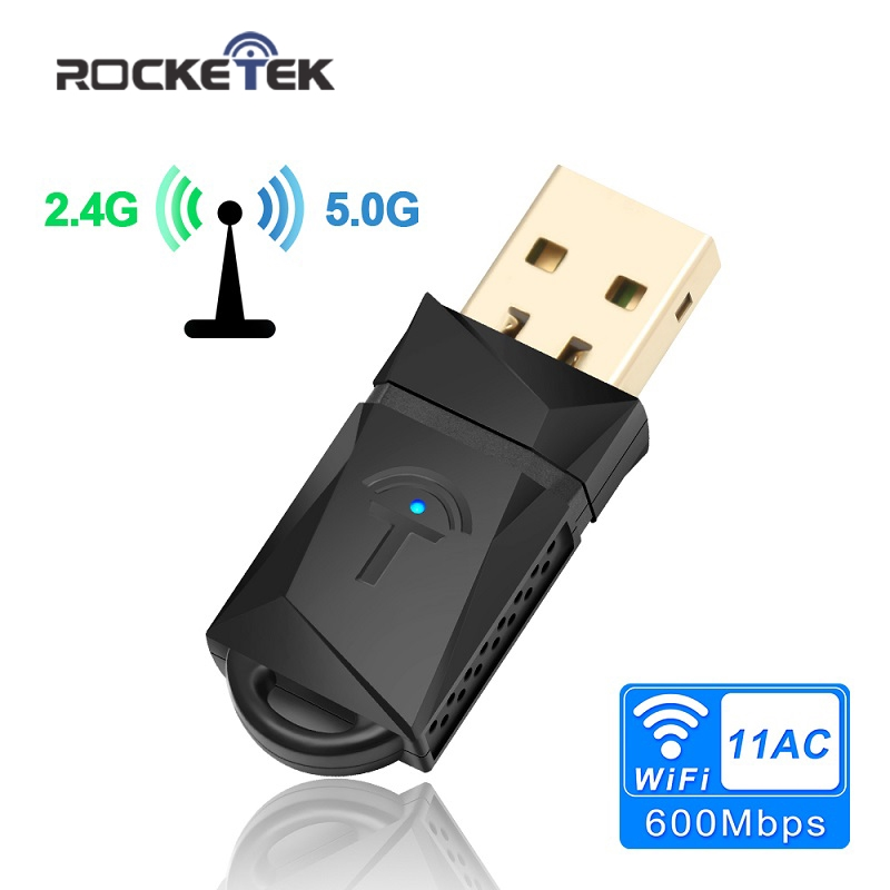 Rocketek 600Mbps Dual Band Wireless USB WiFi adapter RTL8188CU Wi-Fi Ethernet Receiver Dongle 2.4G 5GHZ for Pc Windows Wi Fi