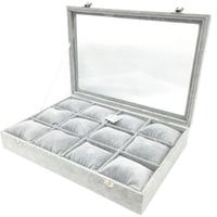 Watch Box Storage Watch Clip Jewelry Storage Grey Velvet Display Box with Cover Storage Boxes & Bins    -