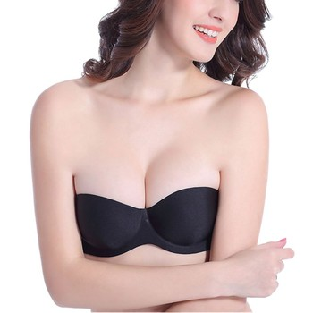Sexy Backless Invisible Bra Push Up Ladies Lingerie Seamless Brassiere No sewing bra Black Strapless Bra