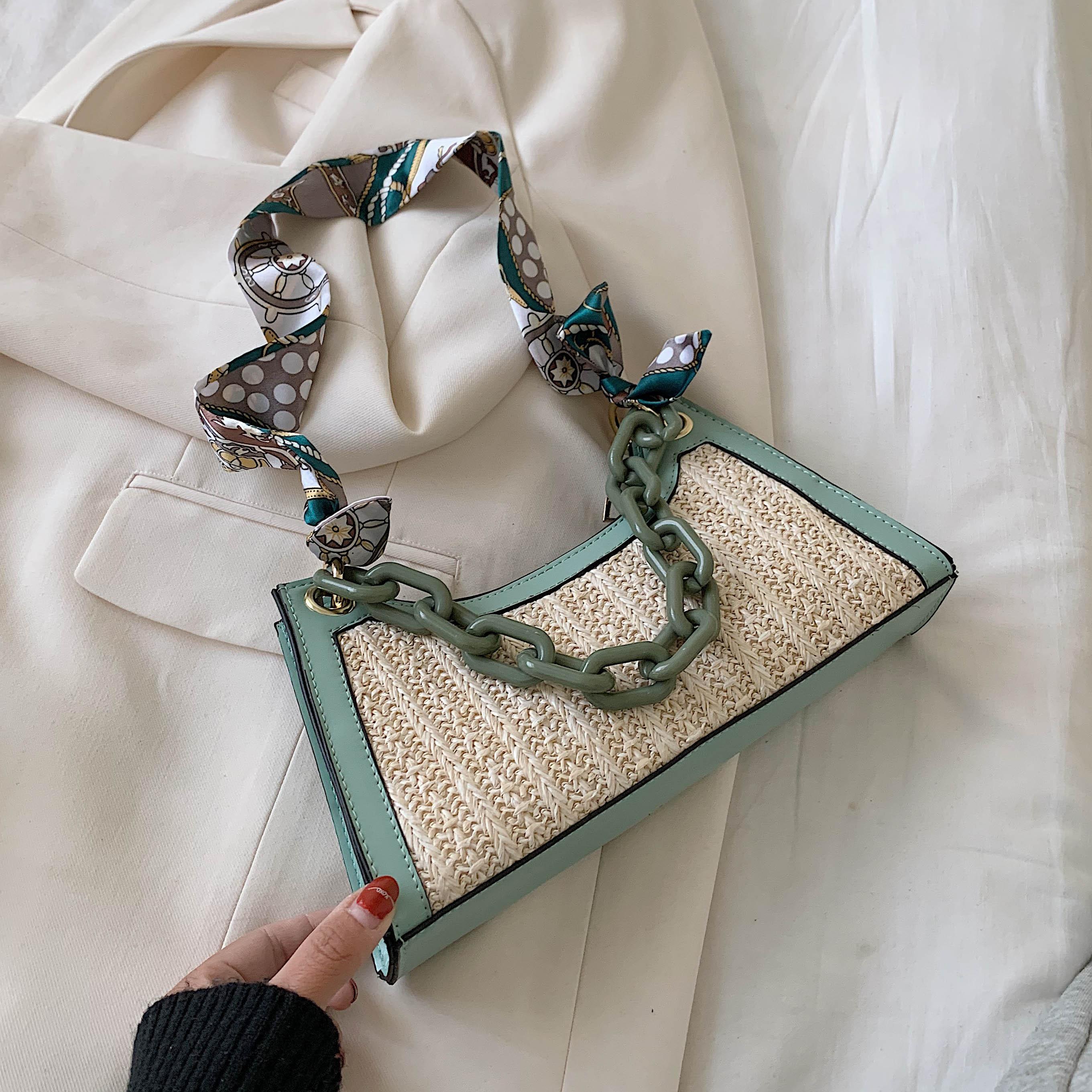 Summer Straw Bags For Women 2020 Scarf Design Crossbody Shoulder Bag Female Handbags Lady Cute Chain Travel Beach Totes
