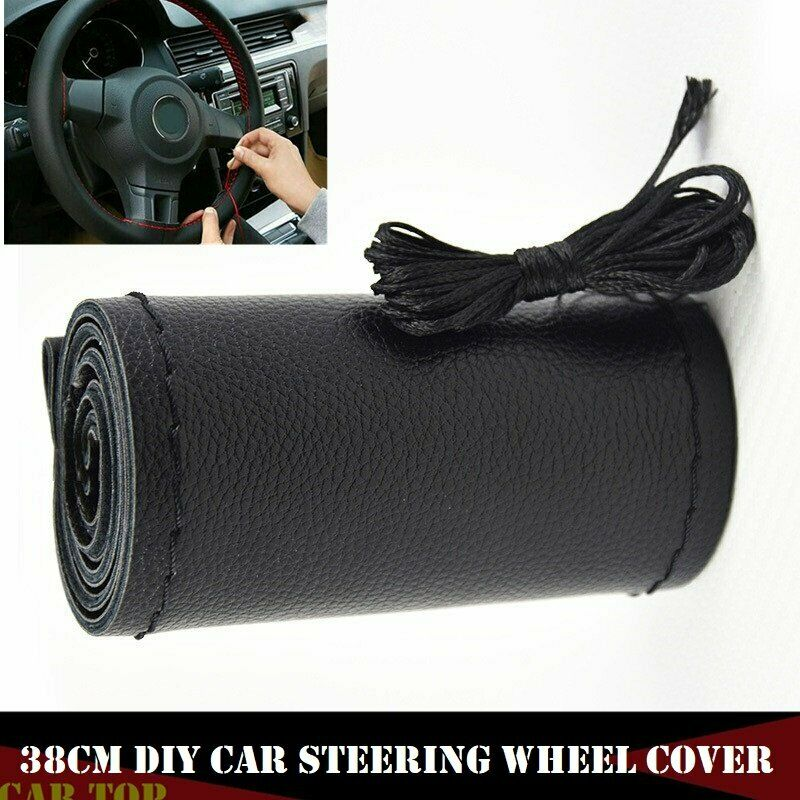 Steering-Wheel-Cover Braid Universal Black Anti-Slip Car Fiber with Soft DIY  title=