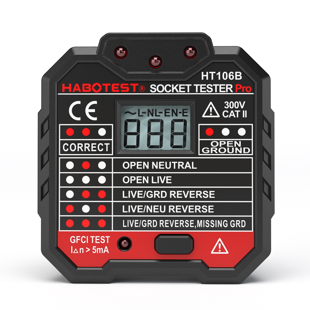 HABOTEST Advanced GFCI Electric Socket Tester Pro Neutral  Earth Wire Circuit Polarity Wall Plug Breaker Electric Leakage Test