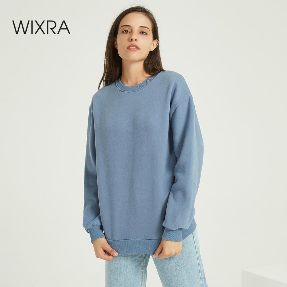 Wixra Women Basic Sweatshirts Solid Women Classic O Neck Long Sleeve Autumn Winter Spring Velvet Pullover Tops