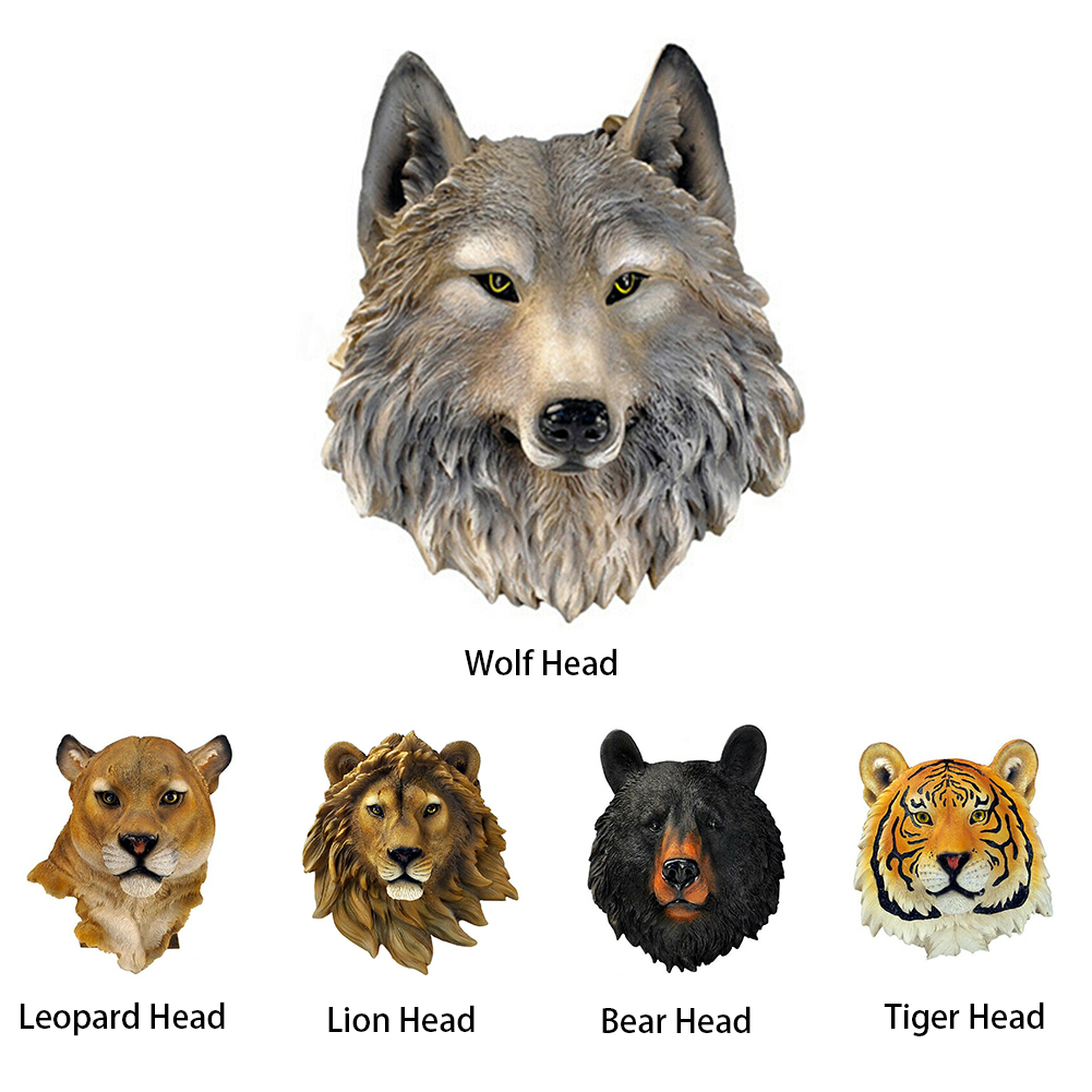 Mounted Wall Hanging Animal Head Gift Living Room Leopard Ornament Decoration Art Synthetic Resin Craft Realistic 3D Wolf