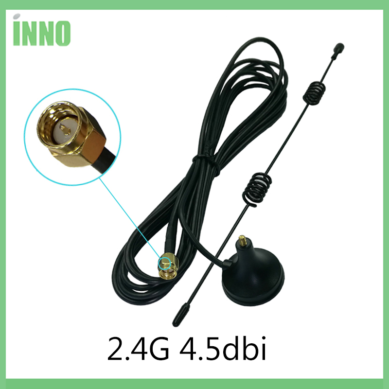 2.4Ghz Wifi Antenna SMA Male Connector 4.5dbi 2.4G Antena Magnetic Base Sucker Antenne 3 Meters Extension Cable Wi-fi Router