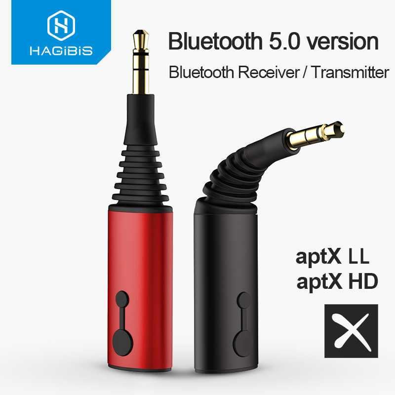 Hagibis ตัวรับสัญญาณ Bluetooth 3.5 มม.aptX LL 2in1 บลูทูธ 5.0 Music Adapter สำหรับหูฟังลำโพงไร้สายเสียงทีวี