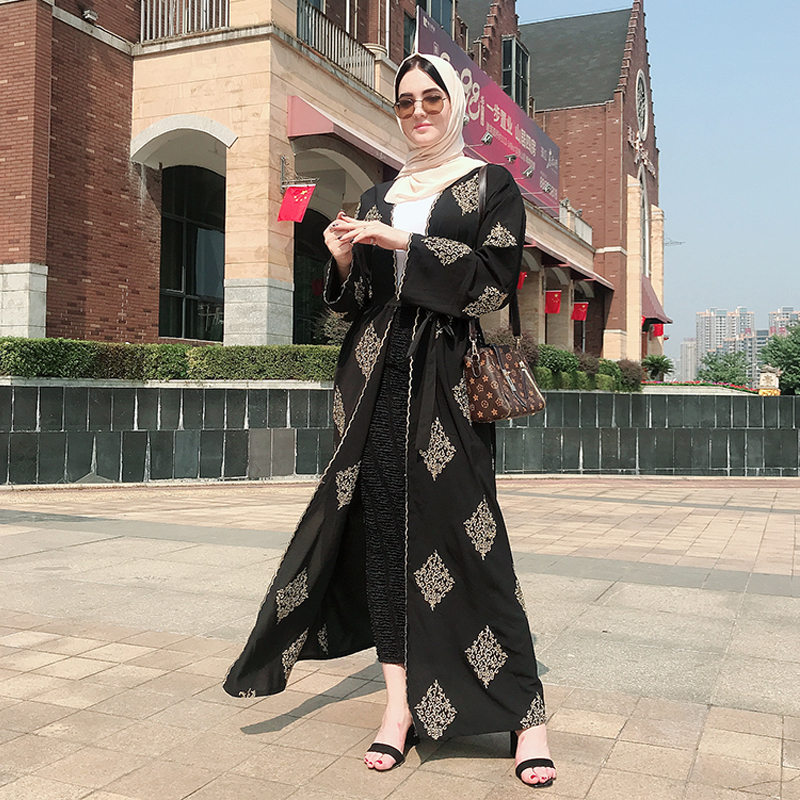 Robe Dubai Open Black Abaya Kimono Muslim Hijab Dress Kaftan Abayas Islam Clothing For Women Coat Caftan Kleding Djellaba Omani