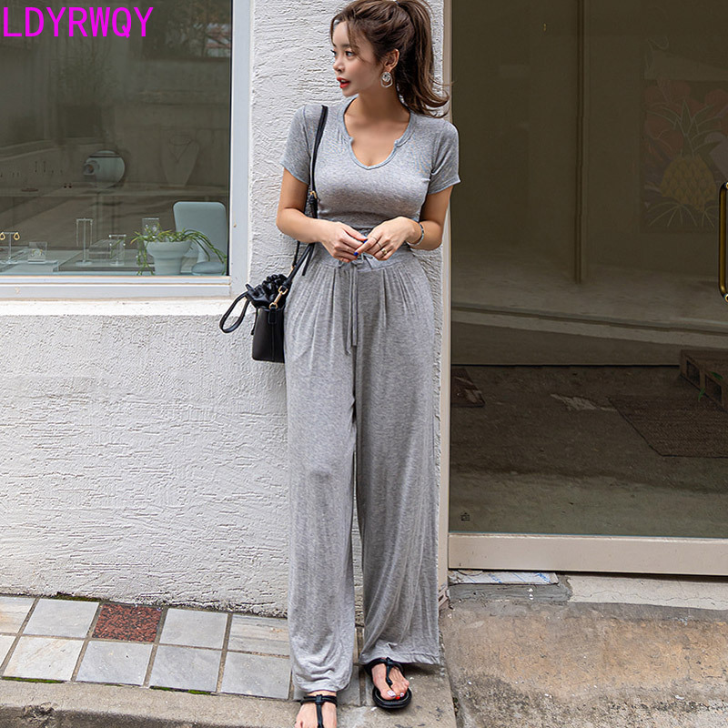 2019 summer new casual temperament V neck short sleeved T shirt waist slimming wide leg pants two piece women 39 s suit in Women 39 s Sets from Women 39 s Clothing