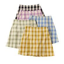Женская клетчатая юбка летняя женская мини с высокой талией