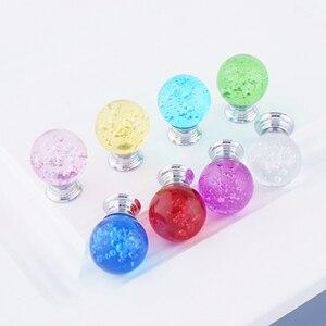 Image 2 - Tirador de mueble con bola de burbuja de cristal de un solo orificio, tiradores de tocador, tirador de cristal para muebles