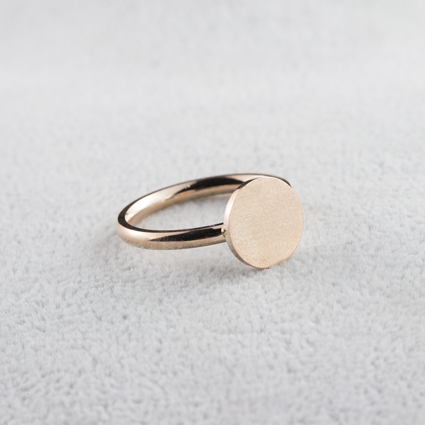 Minimalist Rose Gold Full Moon Rings For Women Anel Boho Jewelry Stainless Steel Geometric Round Finger Bague Femme Wedding Gift 10