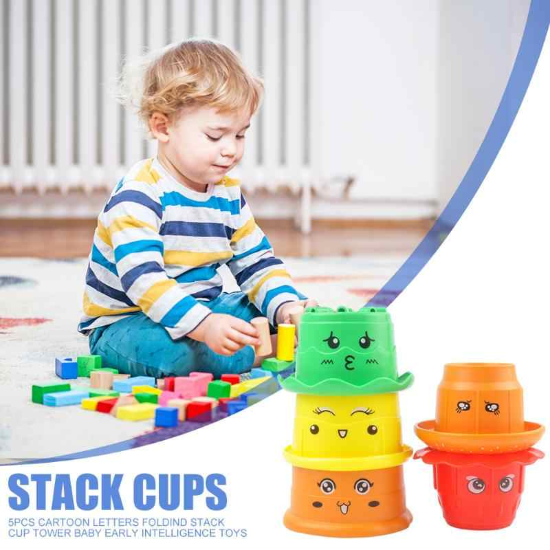 5pcs Cartoon Kids Letter Stacked Cup Tower Children Early Intelligence Bath Toys For Cognitive Color Exercise Response Aliexpress