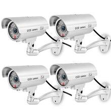 ZILNK wodoodporna atrapa aparatu Bullet miga czerwony LED odkryty kryty fałszywy CCTV bezpieczeństwa imitacja aparatu srebrny wysyłka