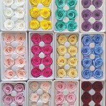 8 pçs/caixa de alta qualidade preservada rosa caixa flor imortal flor diy material atacado decorações flores eternas 4cm