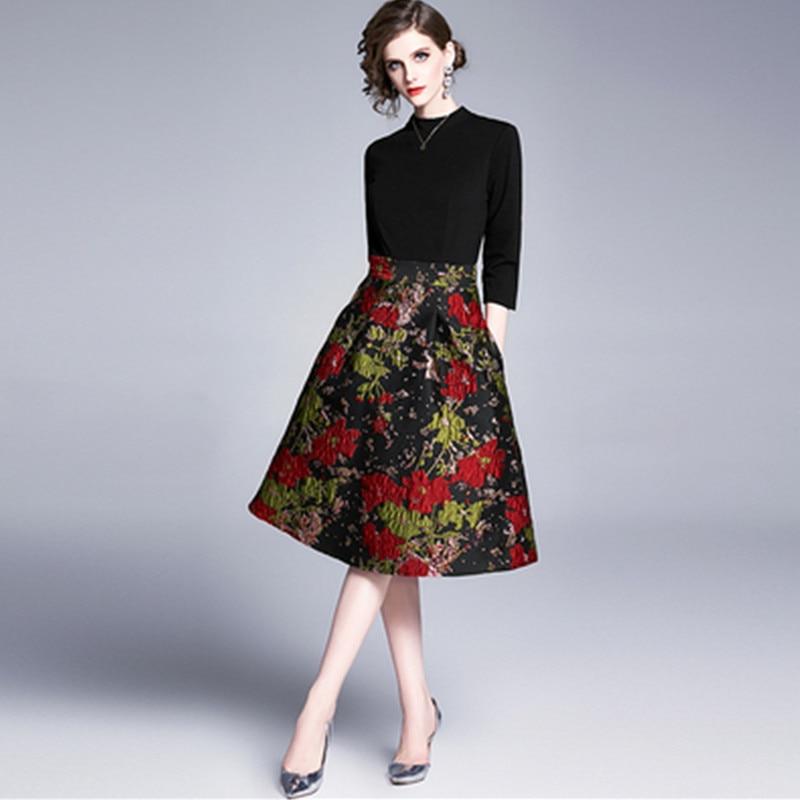 Vintage Jacquard Patchwork A-line Dress Women Fashion French Style Retro Print Elegant Female Office Party Dresses