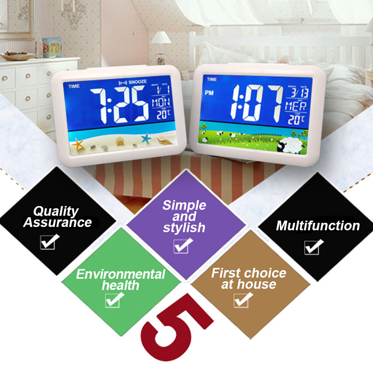 New Temperature Alarm Clock Large Display For Home Office Travel Table Clock Snooze Electronic Kids Clock LCD Color Screen Clock