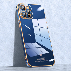 Image 2 - יוקרה אופנה עדשת הגנת סיליקון זהב ציפוי טלפון סלולרי מקרה עבור iPhone 12 11 פרו מקס מיני Fundas כיסוי Coque פגז