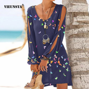 Summer Hollow Out Long Sleeve Beach Dress Women Fashion O-Neck Loose Mini Dress Elegant Butterfly Print Party Dress Vestido 3XL