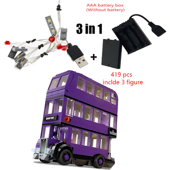 2020 new 3 in 1 Potter Magic Movie Serices Led Light kit Bus Set 11342 Movie Model Kids Toys For Children Gift image
