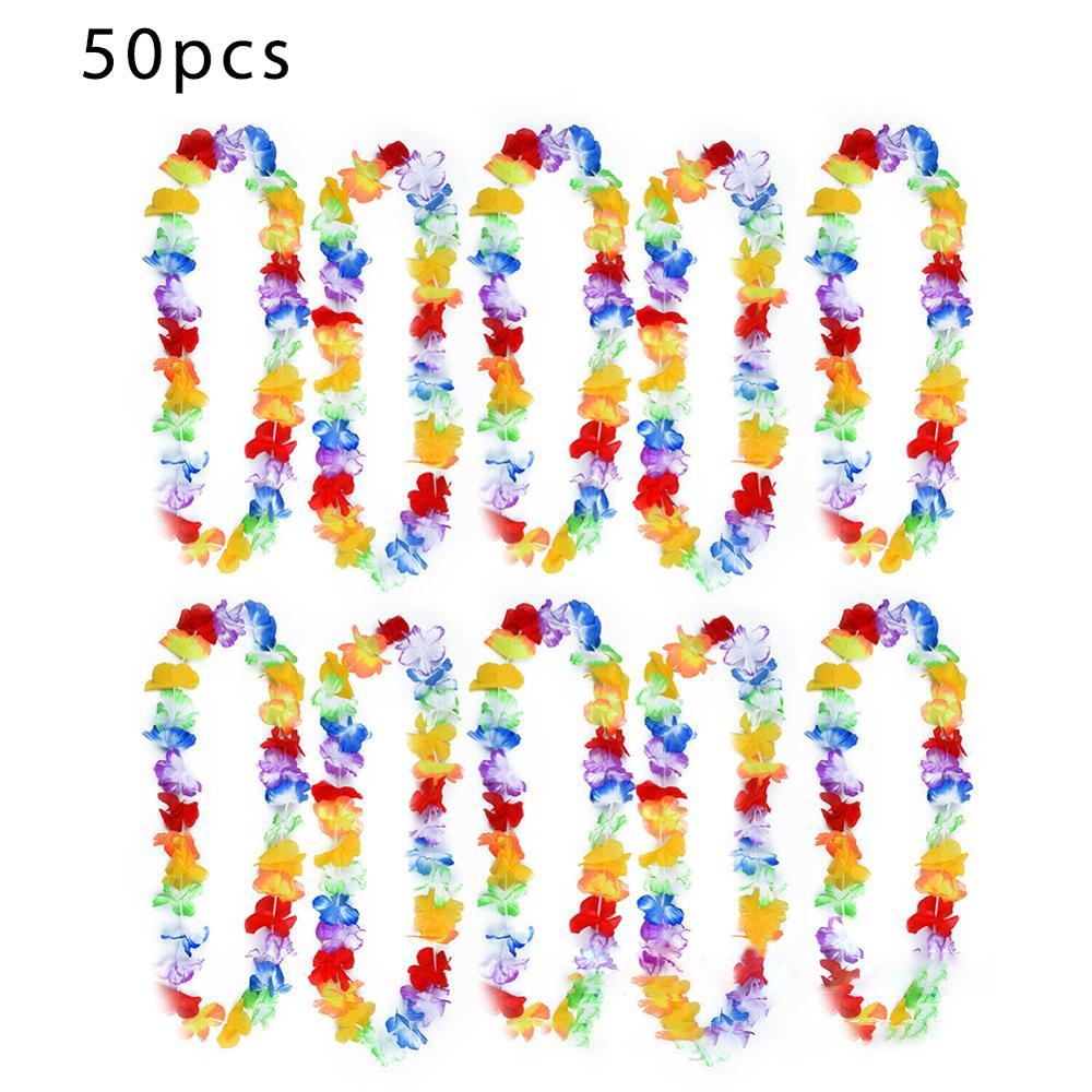 50pcs Hawaiian Leis Garland Artificial Necklace Hawaii Flowers Party Supplies Beach Fun Wreath DIY Xmas Gift Wedding Decorations