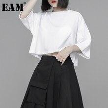 EAM-Camiseta corta de algodón de Color liso para mujer, ropa de media manga con cuello redondo, a la moda, para primavera y verano, 2021, 1U328