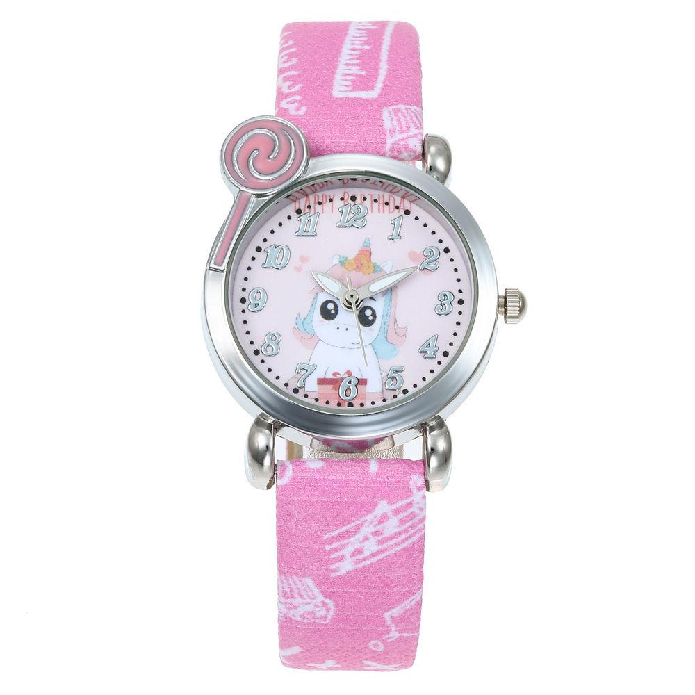 6 Colors Cartoon Horse Pattern Kids Watches Leather Strap Watch Children Unicorn Sports Wrist Watch Boys Girls Clock Relojes