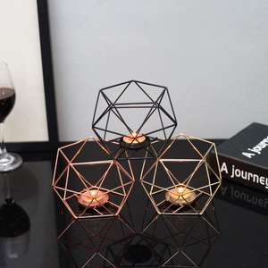 Nordic Style Geometric Iron Candlestick Candle Holders Home Wall Romantic Durable Candlesticks Wedding Home Decoration Craft