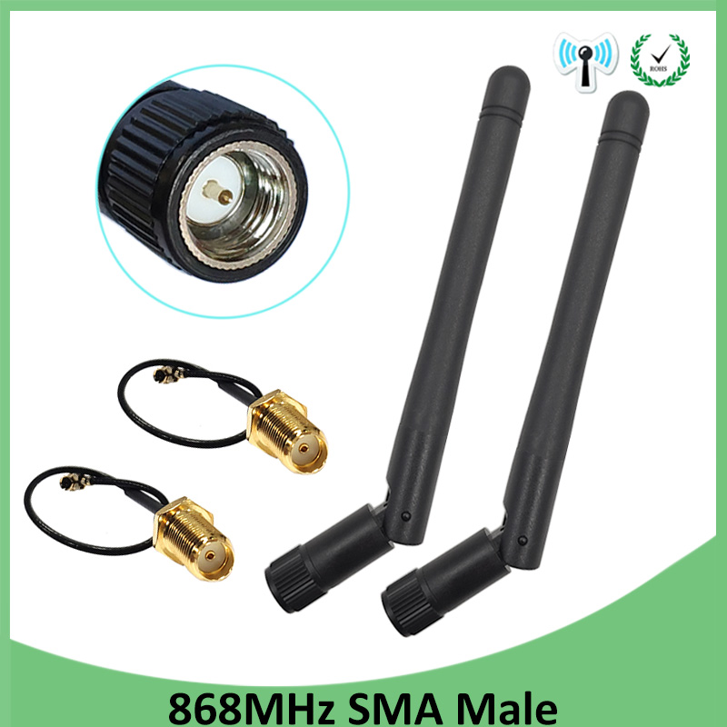 20pcs 868MHz 915MHz Antenna 3dbi SMA Male Connector GSM 915 MHz 868 MHz Antena Antenne Waterproof 10cm RP-SMA/u.FL Pigtail Cable