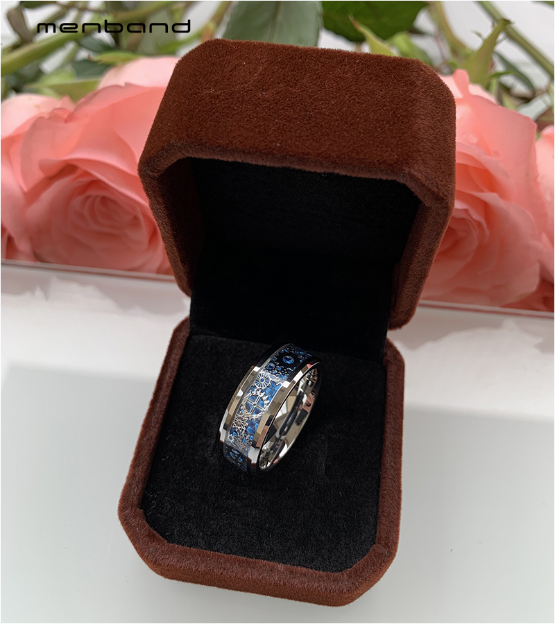 Silver Men Ring Tungsten Wedding Band With Mechanical Gear Wheel And Light Blue Carbon Fiber Inlay Beveled Edges Comfort Fit 1