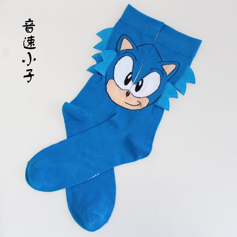Cartoon Game Sock Sonic Hedgehog Long Ears Men Cotton Socks Funny Fashion Novelty Comfortable Breathable Calcetine Corto Hombre