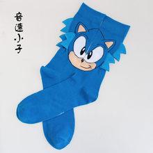 Jogo dos desenhos animados sock sonic hedgehog orelhas longas meias de algodão masculino engraçado moda novidade confortável respirável calcetine corte hombre