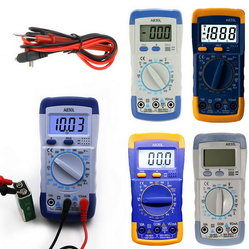 A830L LCD Digital Multimeter AC DC Voltage Diode Freguency Multitester Current Tester Luminous Display With Buzzer Function New