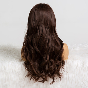 Image 3 - ALAN EATON Long Dark Brown Wavy Wigs Cosplay Natural Synthetic Wigs for Black Women Heat Resistant Hair Wigs Middle Part 24