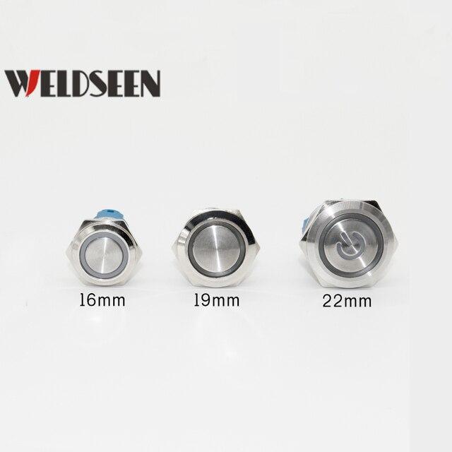 Фото 19 мм 22 металлический кнопочный переключатель светодиодный
