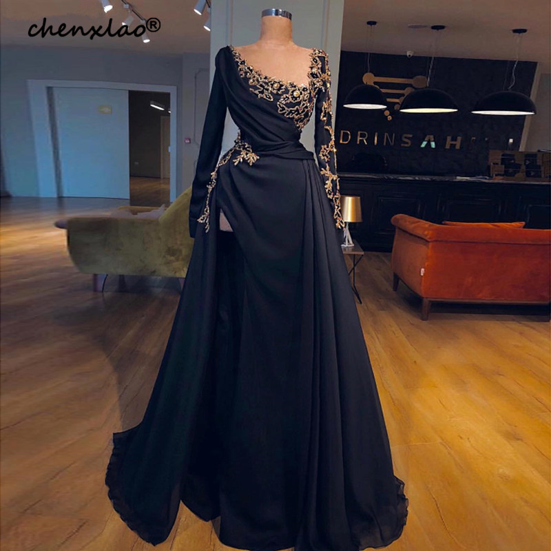 Black Muslim Evening Dresses 2019 A-line Long Sleeves Chiffon Lace Long Islamic Dubai Saudi Arabic Long Formal Evening Gown