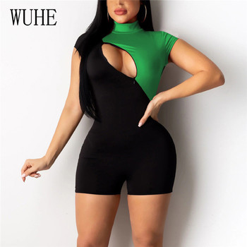 WUHE New Sport Running Summer O-neck Elegant Women Jumpsuit Patchwork Bodycon Short Playsuits Sexy Hollow Out Club Rompers sleeveless floral jumpsuit women beach playsuits summer one shoulder hollow out overalls casual short jumpsuit sexy bodycon